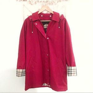 Burberry • Red Plaid Lined Hooded Jacket